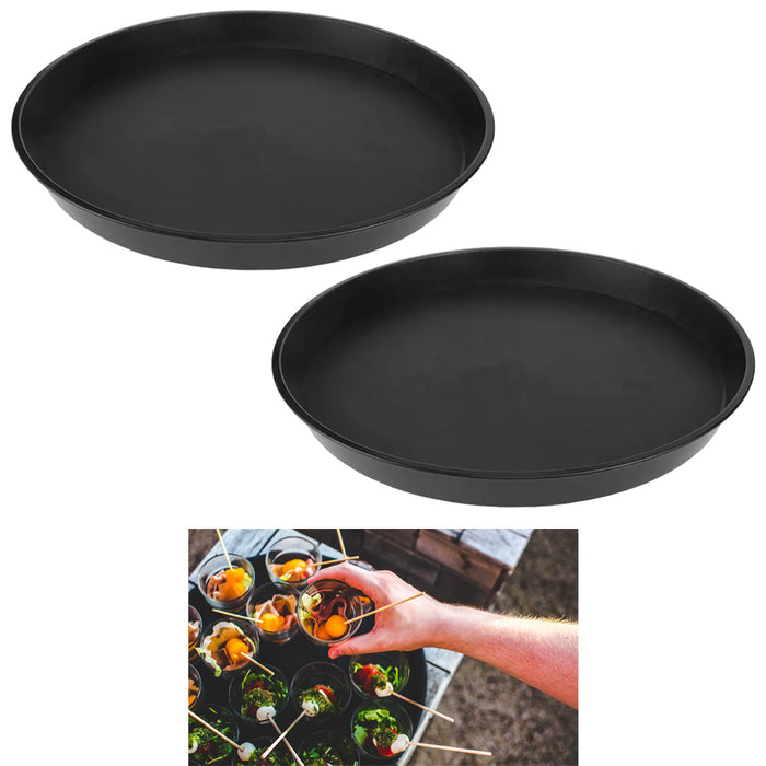 2 Round Drink Serving Food Tray Dinner Dish Lunch Dining Catering Restaurant 16""
