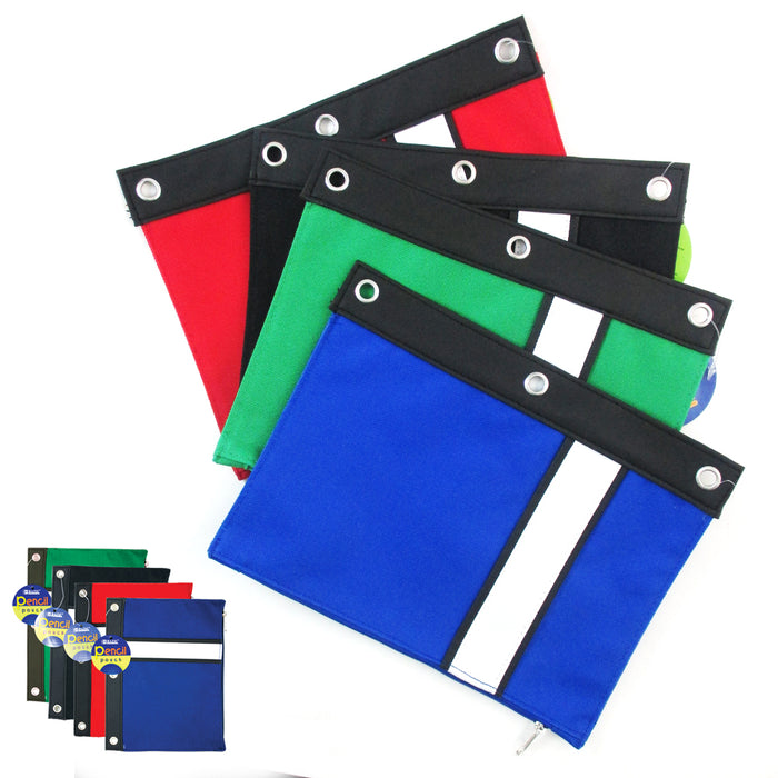 1 Pencil Pouch Zipper 3 Ring Binder Bag School Supply Pen Marker Holder Storage