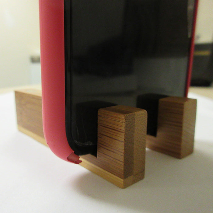 2 Sets Universal Phone Portable Desk Stand Bamboo Wood Holder Smart Cell Mobile
