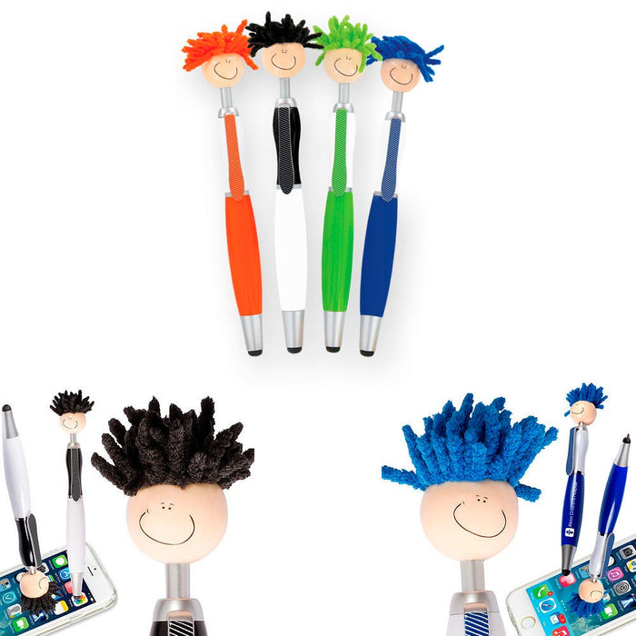 2 PCS Touch Screen Pen 3-in-1 Universal Stylus Duster Cleaner Techie Tom Mop Top