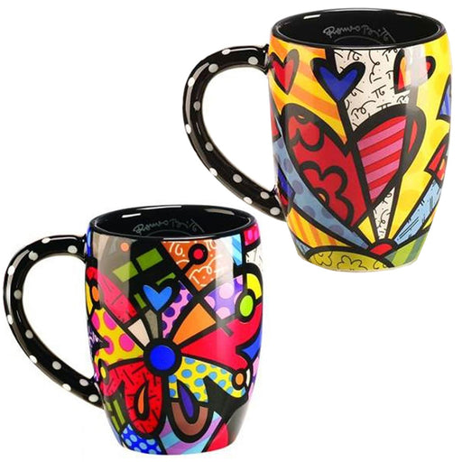 Romero Britto Round Butterfly Heart Mug Cup Coffee Drink Tea Ceramic Giftcraft