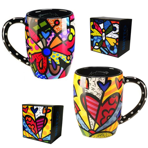 Romero Britto Round Heart or Butterfly Mug Cup Ceramic Authentic Dolomite Travel