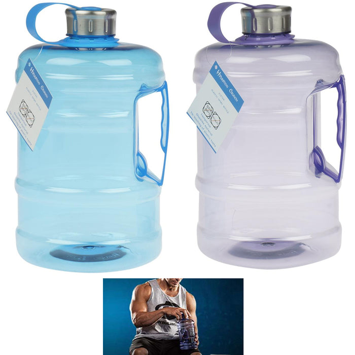 2 Pc Sports Bottles 2 Liter Water Drinking Plastic Canister Hiking Outdoor Wide