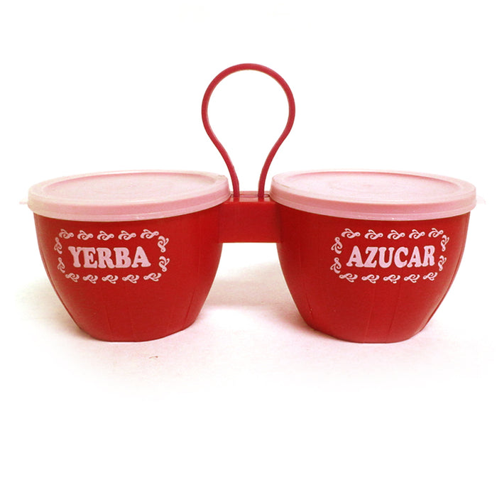 1 Set Yerba Mate Azucar Sugar Container Tea Canister Storage Jar Lid Carafe Red