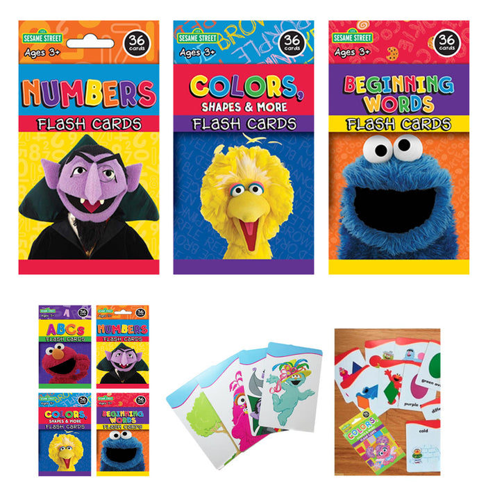 3 Sesame Street Flash Card Beginning Words Numbers Alphabet ABC Learning Kid Fun