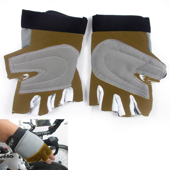 Cycling Gloves Padded Half Finger MTB Bike Bicycle Glove Sports Strap M-L Brown
