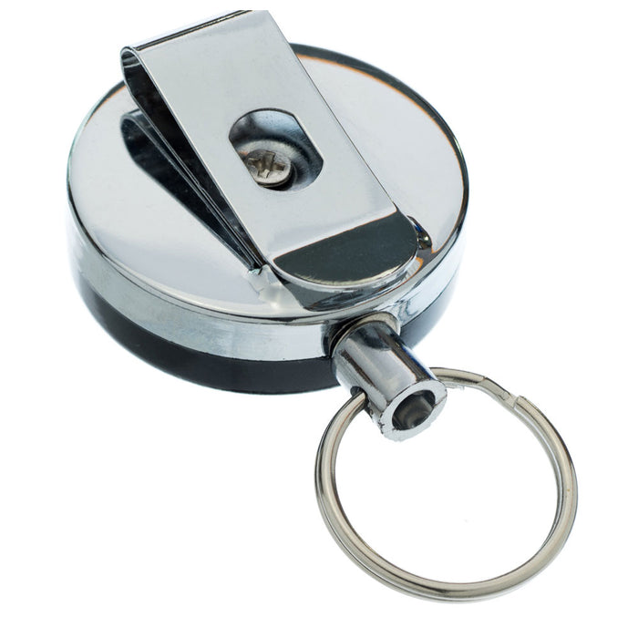 "2Pc 1.5"" Retractable Reel Key Ring Badge Keychain Chain Pull Metal Recoil Clip"