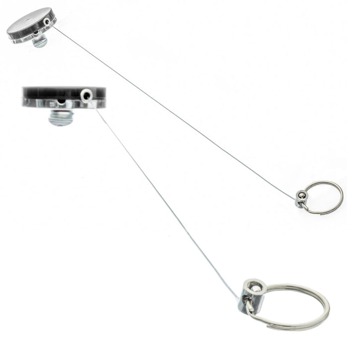 "5 Retractable Badge Holder 1.5"" Pull Reel Metal ID Belt Clip Key Ring Keychain"