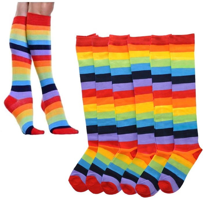 12 Pair Rainbow Women Socks Multi-color Pride Soccer Striped Knee High Size 9-11