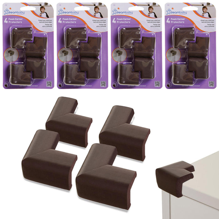 16 Child Proof Foam Corner Cushion Protect L-Shape Baby Safety Edge Guard Brown