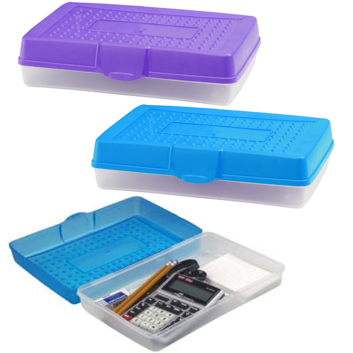 2 Utility Tools Box Office Supplies Pencil Case Pen Craft Organizer Plastic