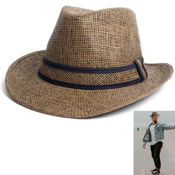 Beach Classic Trilby Short Brim Fedora Hat Band Cuban Cap Summer Men Women S/M