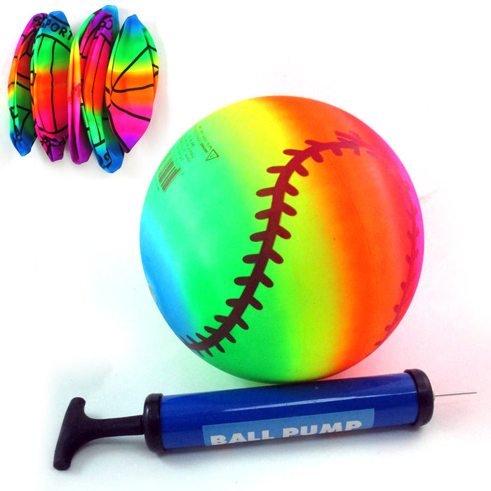 1 Rainbow PVC Ball Inflatable Sport Bounce Kick Classic Beach Football Pool Lake