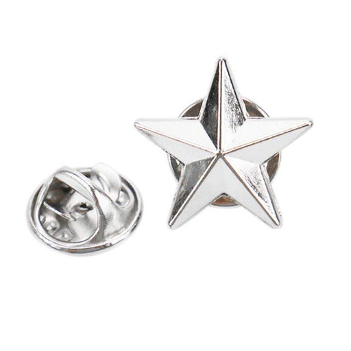 Military 3D 5 Point Silver Star Lapel Pin Rank USA Army Sergeant Collar Veteran