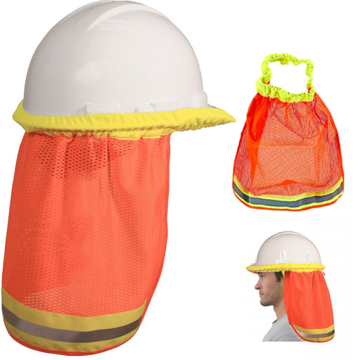 2pc Sun Shade Hard Hat Mesh Neck Shield Safety High Visibility Reflective Stripe