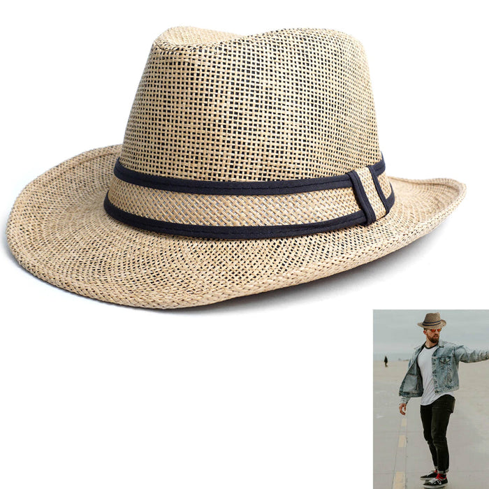 Beach Classic Trilby Short Brim Fedora Hat Band Cuban Cap Summer Men Women L/XL