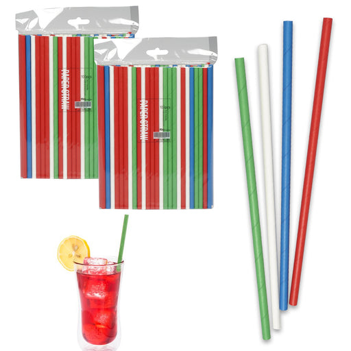 "200ct Paper Straws 7.75"" Eco-Friendly Multi Color Home Juice Drinks Party Supply"