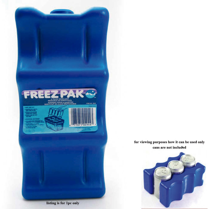 1 x 6 Can Coolant Reusable Ice Freez Pak Coolers Lunch Boxes Freezer Home Chill