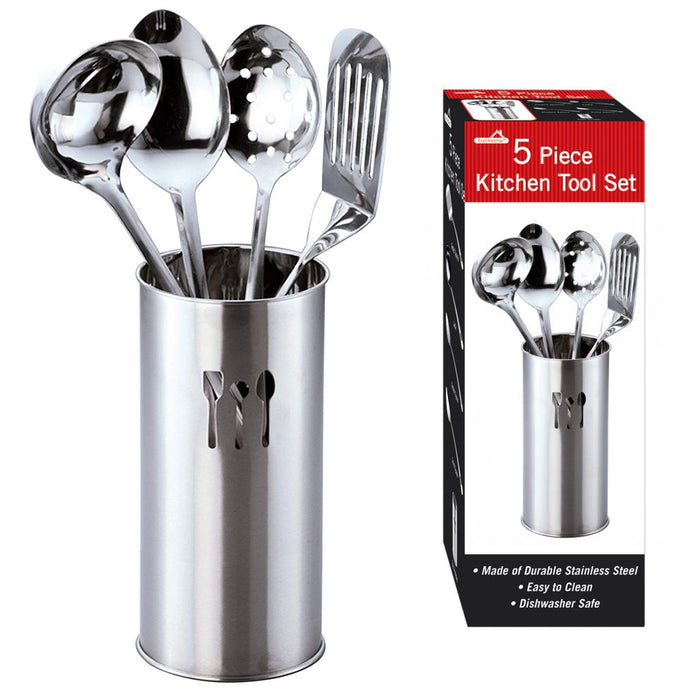 5 Stainless Steel Cooking Utensil Set Kitchen Serving Tools Spatula Spoon Holder