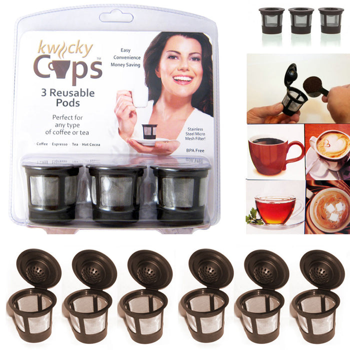 6 Pack Reusable K Cups Keurig Coffee Machine Maker Refillable Filter Cup Pods !