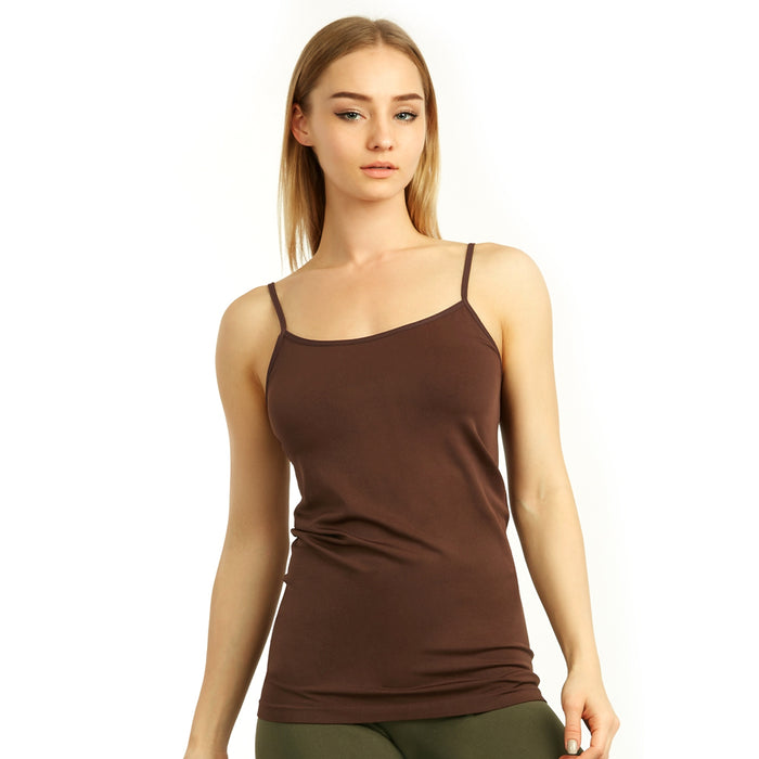 1 Brown Tank Top Spaghetti Strap Seamless Stretch Tunic Slip Camisole Layer Cami