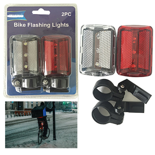 2pc Bike Lights Flashing Bright LED Flasher Reflector Clip Biking Bicycle Safety