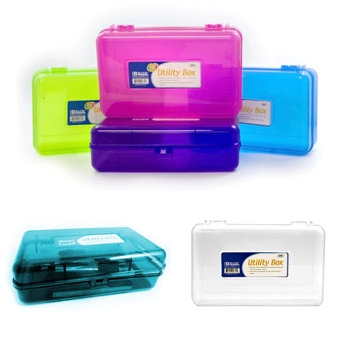 Plastic Pencil Box Case Kids School Office Supplies Pen Art Craft Organizer New