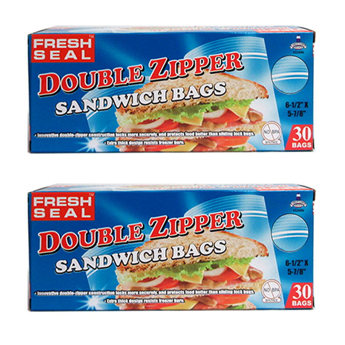 60 X Double Zipper Sandwich Lunch Bags Snack Bags Food Storage Freshness Seal