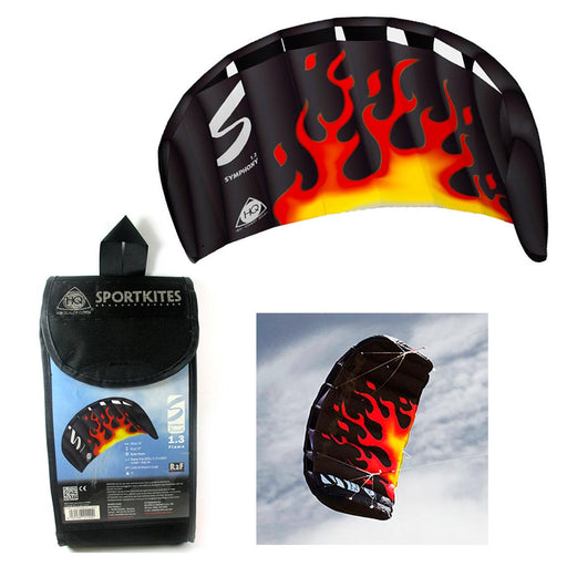 HQ 1.3M Symphony Beach Flame Trainer Kite Kiteboard Foil Power Control Bar Stunt