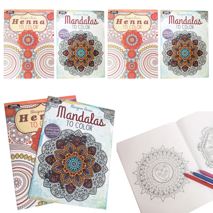 4 New Adult Coloring Book Mandala Henna Color Designs Stress Relief Relaxation