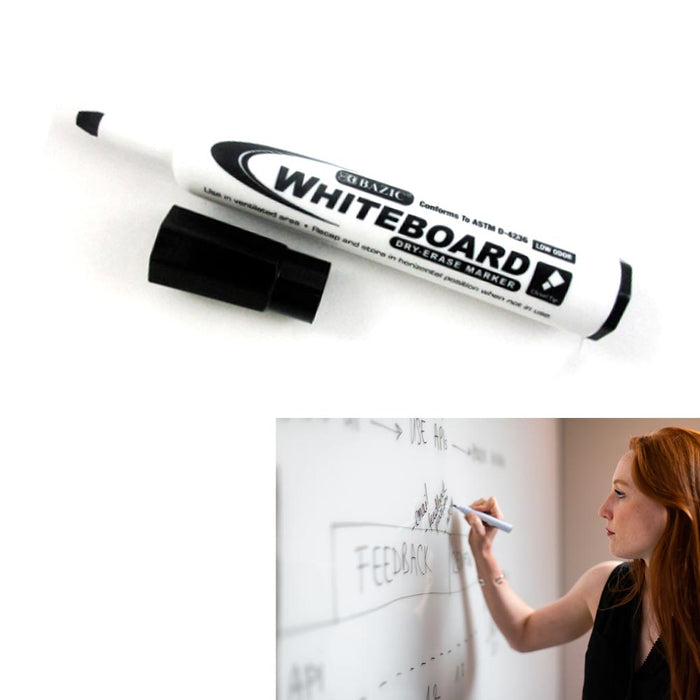 6Pcs Dry Erase Whiteboard Markers Chisel Point Black Pens Office School Low Odor
