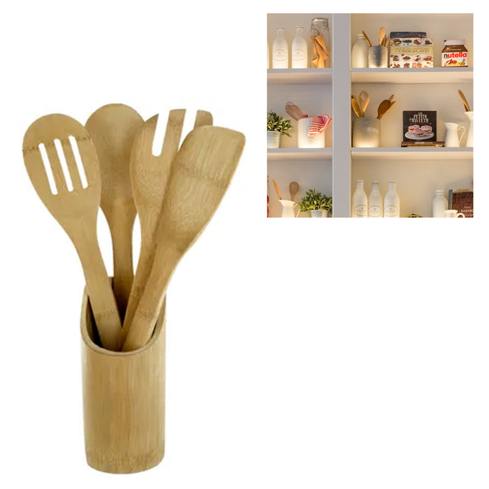 5 Pack Bamboo Wooden Kitchen Tools Cooking Utensil Spatula Spoon Fork Stand Chef