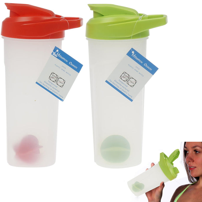 2 Pc Sports Bottles Water Hiking Drinking 20 Oz Plastic Canister Outdoor Wide