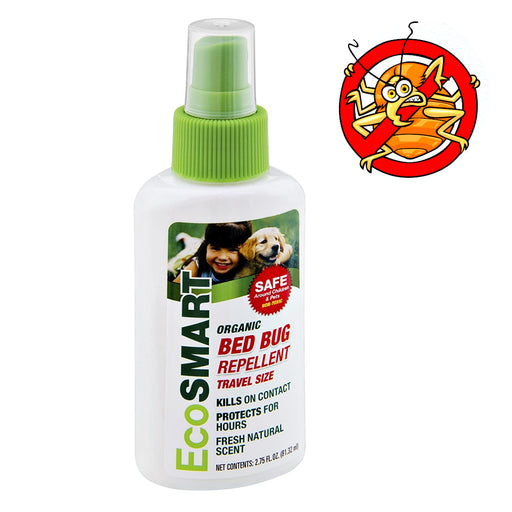 Organic Bed Bug Repellent Spray Bottle Travel Size 2.75 oz Non-Toxic Fresh Scent