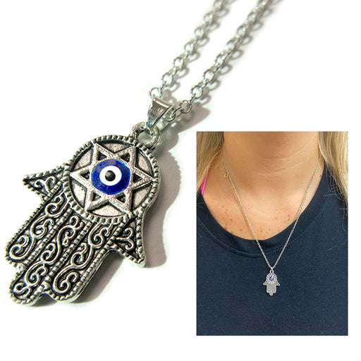 1 Hamsa Star Of David Necklace Evil Eye Hand Lucky Charm Chain Fatima Protection