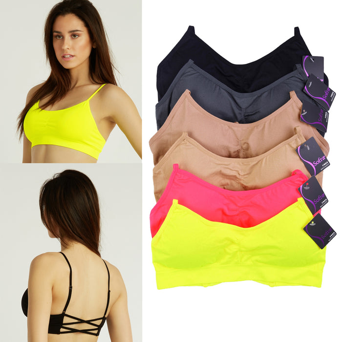 3 Pc Sports Bra Tank Shirred Front Light Pad Cup Seamless Active Wear Yoga Gym
