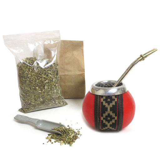 4 Pc Yerba Mate Kit Gourd Cup Tea Straw Bombilla 6oz Leaf Bag Set Pack Argentina