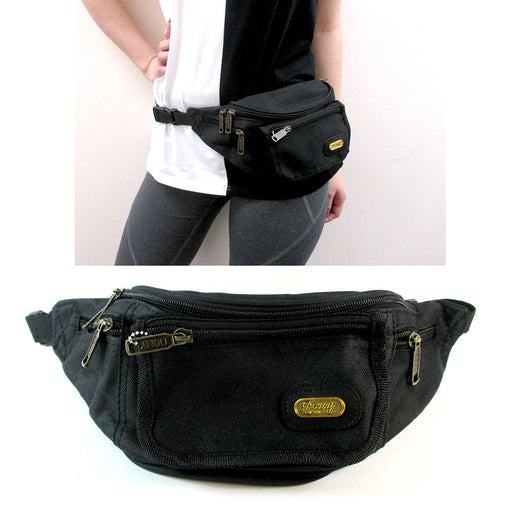1 X Black Waist Fanny Pack Belt Bag Pouch Travel Case Sport Hip Purse Men Women