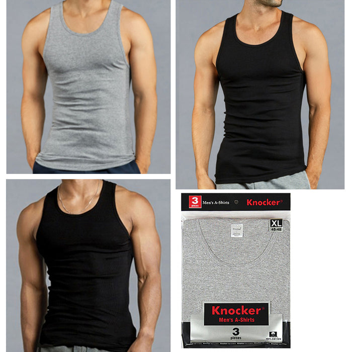 3 X Mens Tank Tops 100% Cotton A-Shirt Ribbed Pack Undershirt Black Gray XLarge