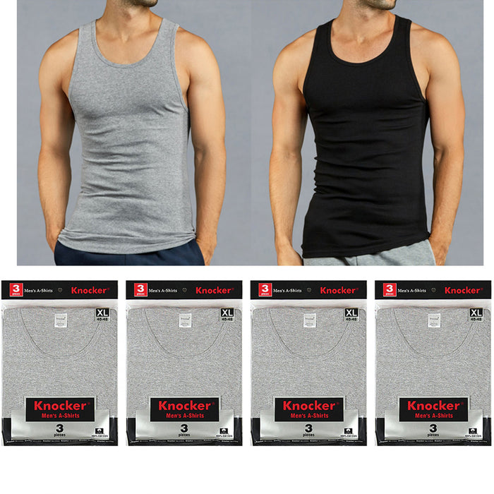 12 X Mens Tank Tops 100% Cotton A-Shirt Ribbed Pack Undershirt Black Gray XLarge