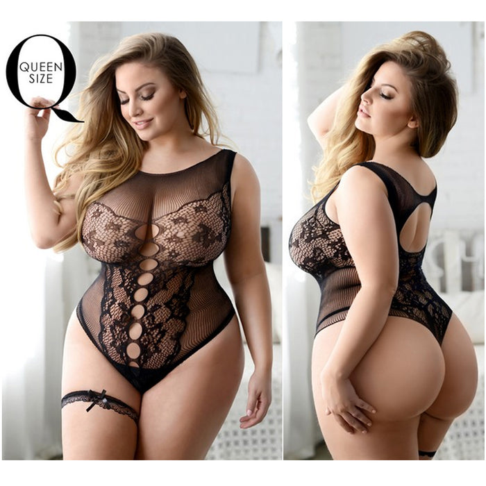 Bodysuit Teddy Lingerie Lace Fishnet Body Stocking Sexy Stretchy Queen Size Plus