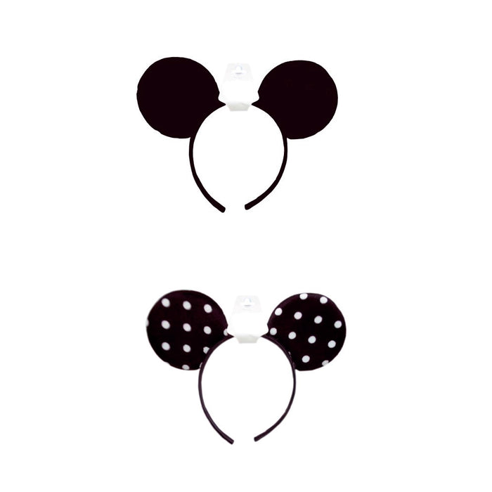 1 Pc Minnie Mouse Ears Headbands Black Or White Polka Dot Mickey Costume Party