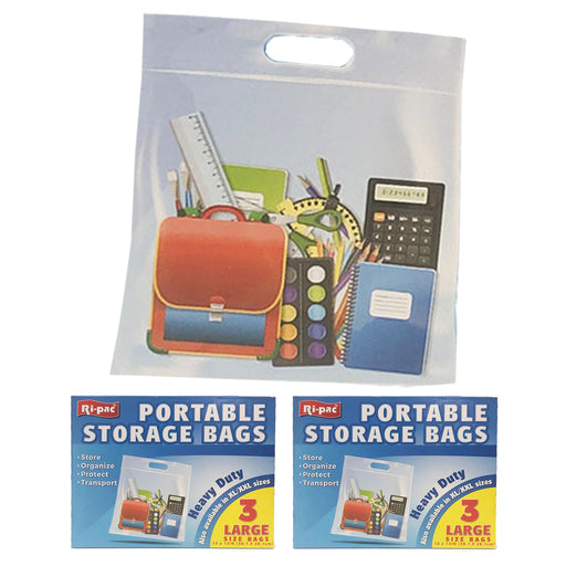 "6 Portable Storage Bags Large Organizer Case Clear Travel Pouch Holder 15"" X 15"""