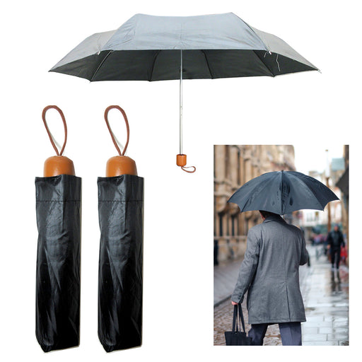 2 Folding Umbrella Mini Portable Compact Emergency Weather Travel Case Black 37""