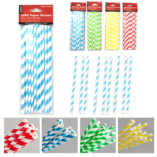 "60pc Paper Straws 7.75"" Biodegradable Color Stripes Eco-Friendly Drinks Decor"