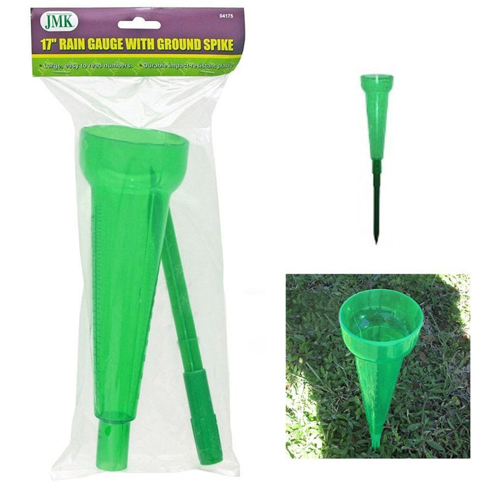 "Rain Gauge Set Plastic 17"" Ground Spike Sprinkler Home Garden Outdoor Tube"