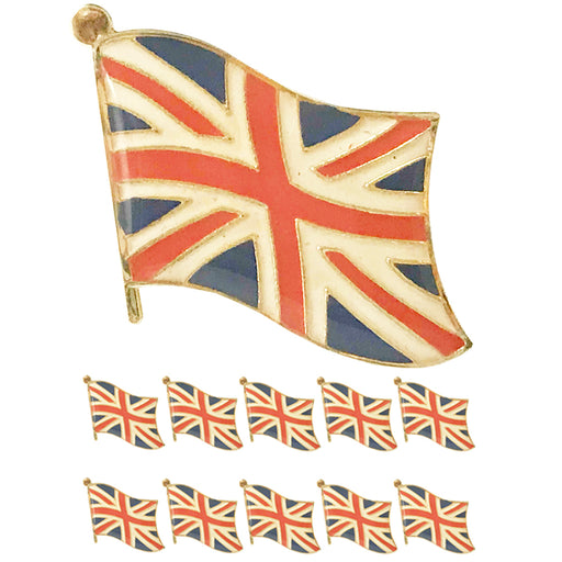 10 Pc UK British Flag Lapel Pin Great Britain England Pinback Hat National Badge