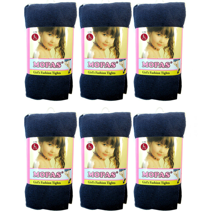 6 Pair Girls Tights Footed Dance Stockings Pantyhose Ballet L Size 7-10 Navy