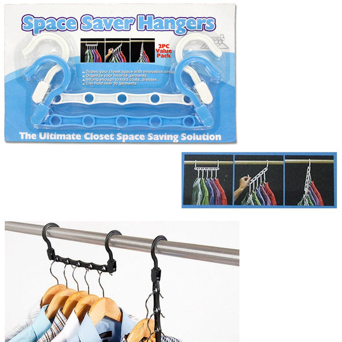 New Lot 4 Space Saver Wonder Magic Clothes Hangers Closet Organizer Hooks Stand