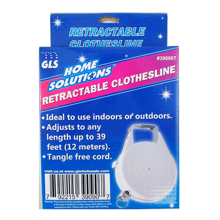 1 Clothesline Indoor Outdoor 39 Ft Retractable Laundry Washing Clothes Line New